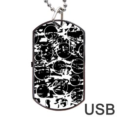 Black and white confusion Dog Tag USB Flash (One Side)