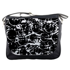 Black and white confusion Messenger Bags