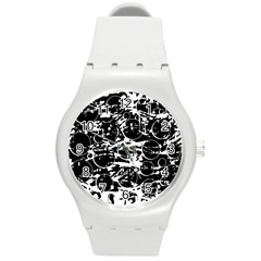 Black and white confusion Round Plastic Sport Watch (M)