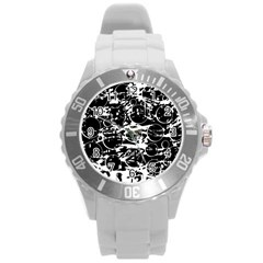 Black and white confusion Round Plastic Sport Watch (L)