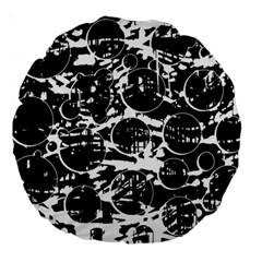 Black and white confusion Large 18  Premium Round Cushions