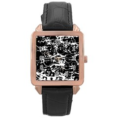 Black and white confusion Rose Gold Leather Watch