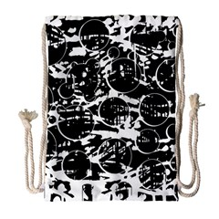 Black and white confusion Drawstring Bag (Large)