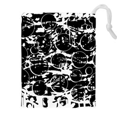 Black and white confusion Drawstring Pouches (XXL)