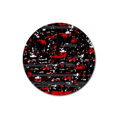 Red symphony Rubber Round Coaster (4 pack)