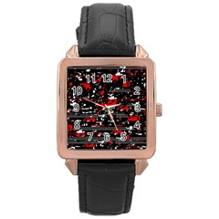 Red symphony Rose Gold Leather Watch