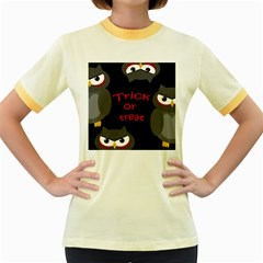 Trick or treat - owls Women s Fitted Ringer T-Shirts