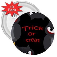 Trick or treat - owls 3  Buttons (10 pack)