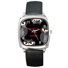 Trick or treat - owls Square Metal Watch