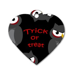 Trick or treat - owls Dog Tag Heart (One Side)
