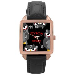 Trick or treat - owls Rose Gold Leather Watch