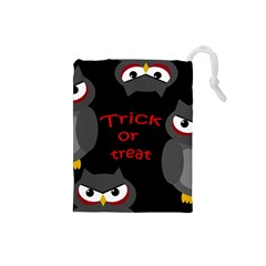Trick or treat - owls Drawstring Pouches (Small)