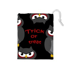 Trick or treat - owls Drawstring Pouches (Medium)