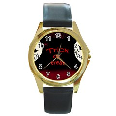 Trick or treat 2 Round Gold Metal Watch