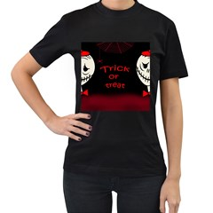 Trick or treat 2 Women s T-Shirt (Black) (Two Sided)
