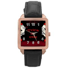 Trick or treat 2 Rose Gold Leather Watch
