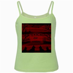 Trick or treat - black cat Green Spaghetti Tank