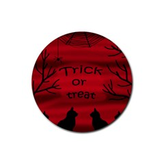 Trick or treat - black cat Rubber Round Coaster (4 pack)