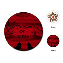 Trick or treat - black cat Playing Cards (Round)