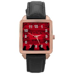 Trick or treat - black cat Rose Gold Leather Watch