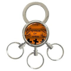 Trick or treat - cemetery  3-Ring Key Chains