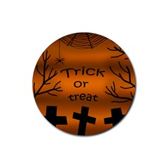 Trick or treat - cemetery  Rubber Round Coaster (4 pack)