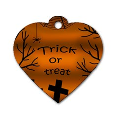 Trick or treat - cemetery  Dog Tag Heart (One Side)