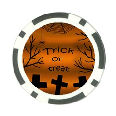 Trick or treat - cemetery  Poker Chip Card Guards