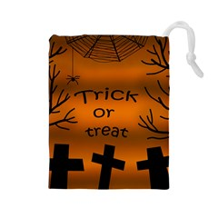 Trick or treat - cemetery  Drawstring Pouches (Large)