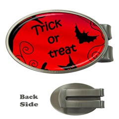 Trick or treat - Halloween landscape Money Clips (Oval)