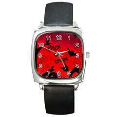 Trick or treat - Halloween landscape Square Metal Watch