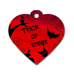 Trick or treat - Halloween landscape Dog Tag Heart (One Side)
