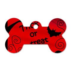 Trick or treat - Halloween landscape Dog Tag Bone (Two Sides)