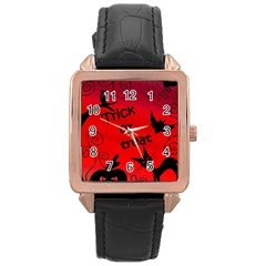 Trick or treat - Halloween landscape Rose Gold Leather Watch