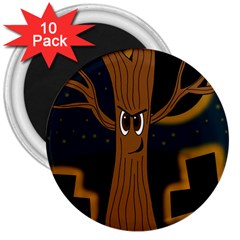 Halloween - Cemetery evil tree 3  Magnets (10 pack)