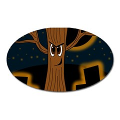 Halloween   Cemetery Evil Tree Oval Magnet