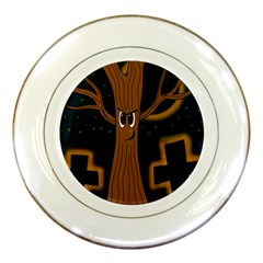 Halloween - Cemetery evil tree Porcelain Plates
