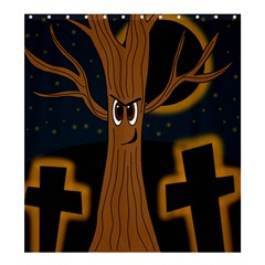 Halloween - Cemetery evil tree Shower Curtain 66  x 72  (Large)