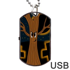Halloween - Cemetery evil tree Dog Tag USB Flash (Two Sides)