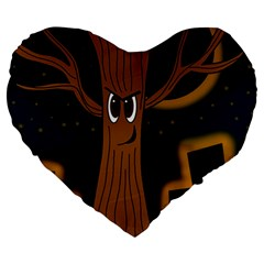 Halloween - Cemetery evil tree Large 19  Premium Heart Shape Cushions