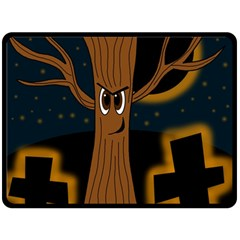 Halloween - Cemetery evil tree Double Sided Fleece Blanket (Large)