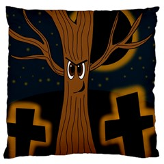 Halloween - Cemetery evil tree Large Flano Cushion Case (Two Sides)