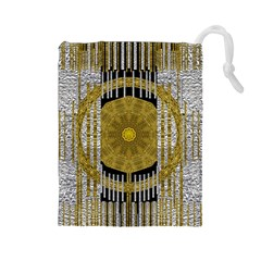 Silver And Gold Is The Way To Luck Drawstring Pouches (Large)