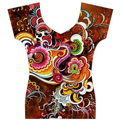 Abstract Abstraction Color Bright Women s V-Neck Cap Sleeve Top