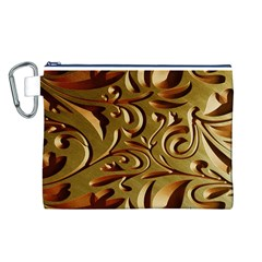 Abstract Gold Art Pattern Canvas Cosmetic Bag (L)