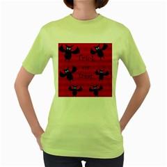Halloween bats  Women s Green T-Shirt