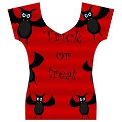 Halloween bats  Women s V-Neck Cap Sleeve Top