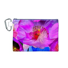Abstract Poppy Flowers Canvas Cosmetic Bag (M)