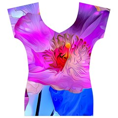 Abstract Poppy Flowers Women s V-Neck Cap Sleeve Top