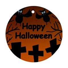 Happy Halloween - bats on the cemetery Ornament (Round)